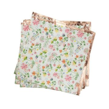 Ditsy Floral Rose Gold Paper Napkins - pack of 16